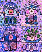Yiddish Prints - Four Pink Hamsa Print by Sandra Silberzweig
