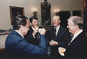 Carter Photo Posters - Four Presidents Nixon Reagan Ford Poster by Everett