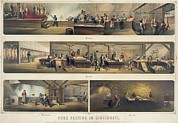 Hogs Prints - Four Scenes In A Pork Packing House Print by Everett