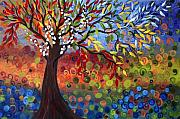 Fantasy Tree Art Mixed Media Prints - Four Seasons Print by Luiza Vizoli