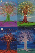 First Star Framed Prints - Four Seasons Trees Framed Print by First Star Art 