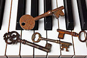 Piano Keys Prints - Four skeleton keys Print by Garry Gay