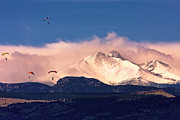 Photography Prints Prints - Four Skydivers With Longs Peak and Mount Meeker Rocky Mountain H Print by James Bo Insogna