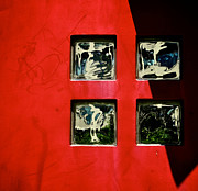 Odd Metal Prints - Four Squares On Red And Black Metal Print by Odd Jeppesen