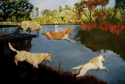 Dog Paintings - Four To Go by Kellie Straw