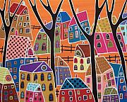 Folk Art Abstract Prints - Four Trees And Houses On Orange Print by Karla Gerard