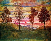 Schiele Posters - Four Trees Poster by Pg Reproductions