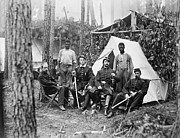 Slavery Prints - Four Union Officers In Front Of Tent Print by Everett