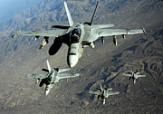 Operation Enduring Freedom Photos - Four U.s. Navy Fa-18 Hornet Aircraft by Stocktrek Images