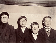 Lewis Wickes Hine Prints - Four Young Men With Eyes Closed Print by Everett