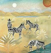 Zebra Pastels - Four Zebras by Sally Appleby