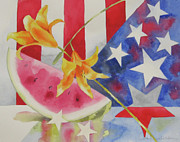Flag Pyrography Prints - Fourth of July Print by Amy Householder