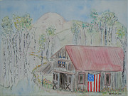 Red White And Blue Mixed Media Originals - Fourth of July Barn by Christy Woodland