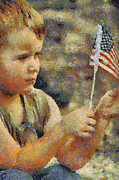 Fourth Of July Mixed Media Metal Prints - Fourth of July Metal Print by Elaine Frink