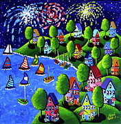 Fireworks Paintings - Fourth of July Fireworks by Renie Britenbucher
