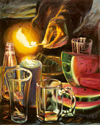 Beer Oil Paintings - Fourth of July by Gina Blickenstaff