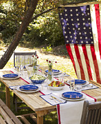 Braids Prints - Fourth Of July Tablescape Print by James Baigrie
