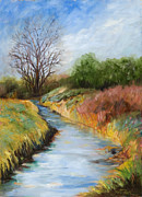 Beautiful Creek Painting Originals - Fourth Street Canal by Pati Pelz