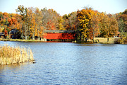 Indiana Landscapes Photo Prints - Fowler Lake and Covered Bridge Print by Franklin Conour