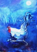 Cockerel Paintings - Fox Alert   by Trudi Doyle