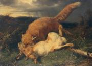 Wild Animals Painting Posters - Fox and Hare Poster by Johann Baptist Hofner