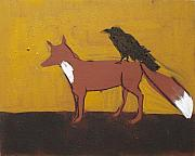 Fox Painting Prints - Fox and Raven Print by Sophy White