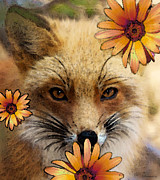 Orange Flowers Posters - Fox Art - Flower Girl Poster by Sharon Cummings