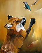 Wildlife Paintings - Fox dances for Hummingbird by J W Baker