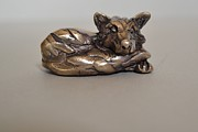Miniatures Sculptures - Fox by Edward  Waites