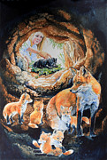Childrens Book Paintings - Fox Family Addition by Hanne Lore Koehler