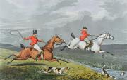 Hand Painting Metal Prints - Fox Hunting - Full Cry Metal Print by Charles Bentley