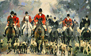 Fox Hunting Framed Prints - Fox Hunting Framed Print by Yury Malkov