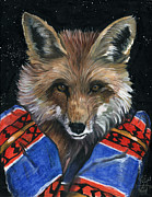 Animal Mixed Media Metal Prints - Fox Medicine Metal Print by J W Baker