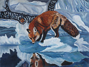 Fox Pastels Prints - Fox on ice Print by Dee Timm