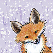 Cute Cartoon Art - Fox On Lavender by Kim Niles