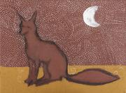 Primitive Art Prints - Fox sitting in the Moonlight Print by Sophy White