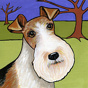 Dog Breeds Paintings - Fox Terrier by Leanne Wilkes