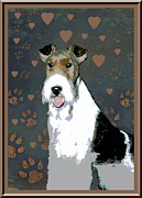 Puppies Digital Art Framed Prints - Fox Terrier Wire Framed Print by One Rude Dawg Orcutt