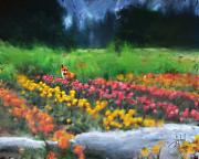Impressionist Mixed Media Acrylic Prints - Fox watching the Tulips Acrylic Print by Stephen Lucas
