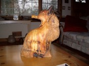 Animal Sculpture Originals - Fox Wood Carving by Barry Combess