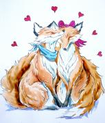 Hearts Drawings Framed Prints - Foxes In Love Framed Print by Debbie  Diamond