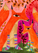 Kids Art Drawings Posters - Foxes in Soxes Poster by Kate Cosgrove