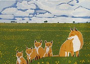 Eamon Reilly Prints - Foxes in the countryside Print by Eamon Reilly