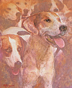 Hound Pastels Framed Prints - FOXHOUND DUO and friends Framed Print by Richard James Digance
