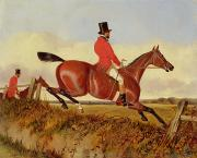 Fox Hunting Framed Prints - Foxhunting - Clearing a Bank Framed Print by John Dalby