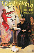 Tricks Painting Prints - Fra Diavolo the Great Magician Print by Unknown