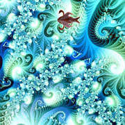 Wildlife Celebration Painting Posters - Fractal and swan Poster by Odon Czintos