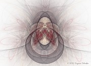 Symetrical Posters - Fractal Art In Mauve Cream and Grey Poster by Suzanne Schaefer