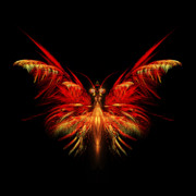 Flame Metal Prints - Fractal Butterfly Metal Print by John Edwards