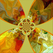 Tangerine Mixed Media Posters - Fractal Floral Poster by Bonnie Bruno
